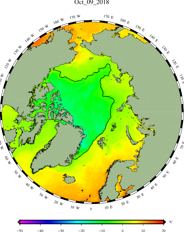 mean temperature of sea ice and surface